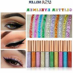 10 Colors GLITTER Waterproof Eyeshadow Liquid Eyeliner Makeu
