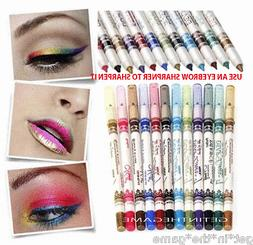 12 Color Glitter Eyeshadow Lip EyeLiner Eye Shadow Pencil Sh