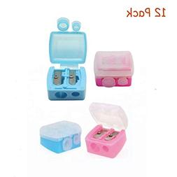 12Pcs Dual Holes Makeup Pencil Sharpeners with Matte Cover f