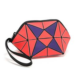 Geometric Zipper Cosmetic Bag Women Travel Makeup Bag