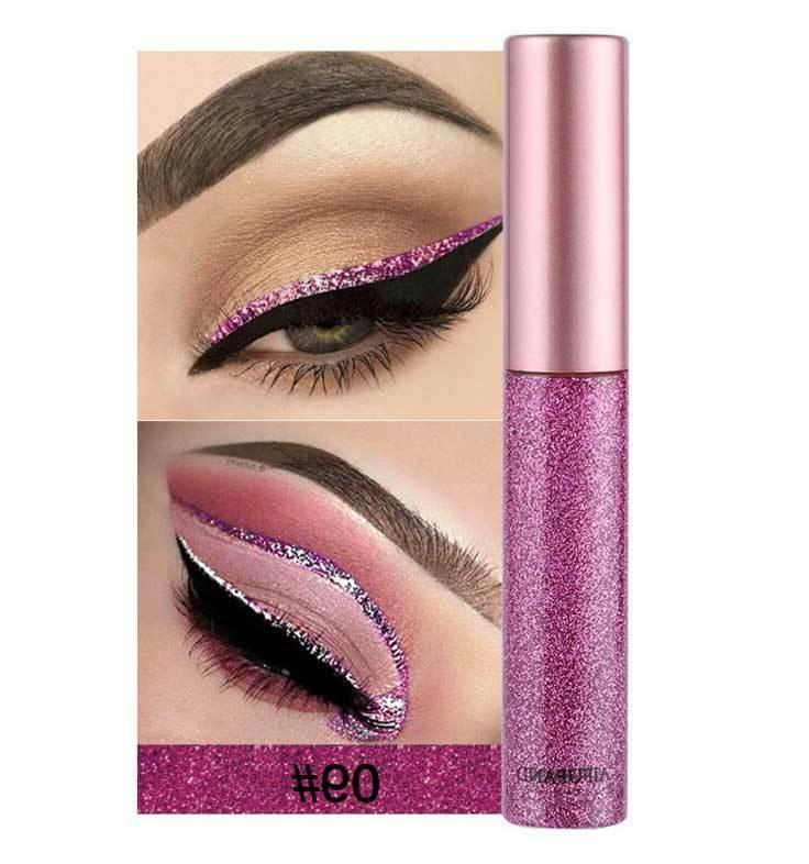 10 Colors GLITTER Eyeshadow Liquid Eyeliner Makeup Shimmer
