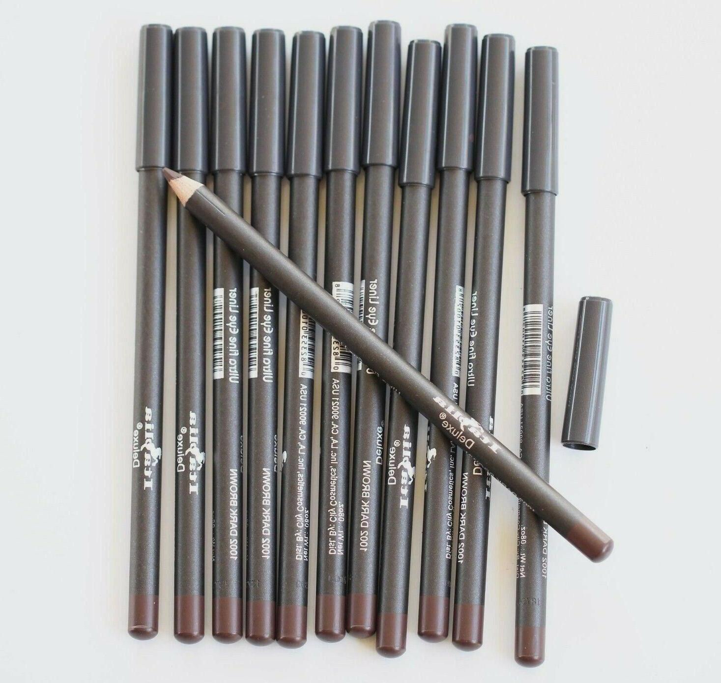 12 pcs 1002 DARK BROWN Italia Deluxe Ultra Fine Eye Liner Ey