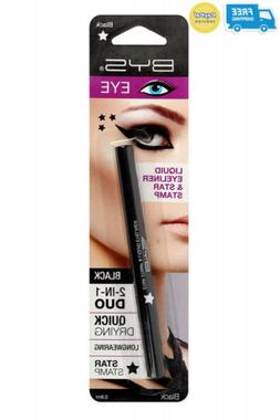 BYS Matte 2in1 Duo Liquid Eyeliner Ultrafine Tip Pen with St