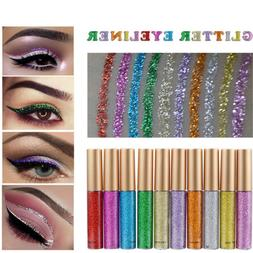 Waterproof Shiny Eyeshadow Glitter Liquid Eyeliner Makeup Ey